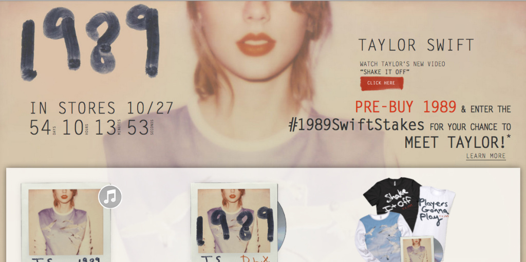 Screen shot of taylorswift.com taken September 2, 2014 promotes Taylor Swift's new album 1989.