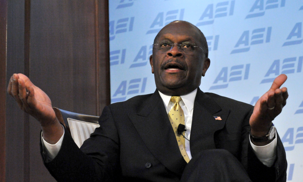 Republican presidential contender Herman Cain addresses an audience at AEI (American Enterprise Institute) for Public Policy Research on October 31, 2011 in Washington, DC.