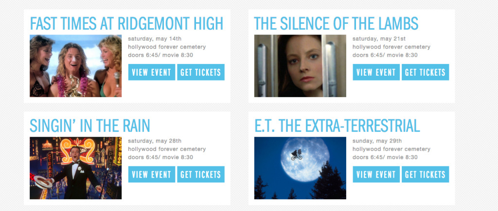 Part of this summer's Cinespia line up at the Hollywood forever cemetery.