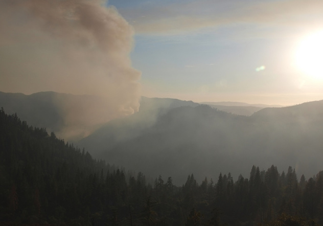 A still of a livestream of the Turtle Rock Dome in Yosemite Park shows plumes of smoke from the Dog Rock Fire nearby.