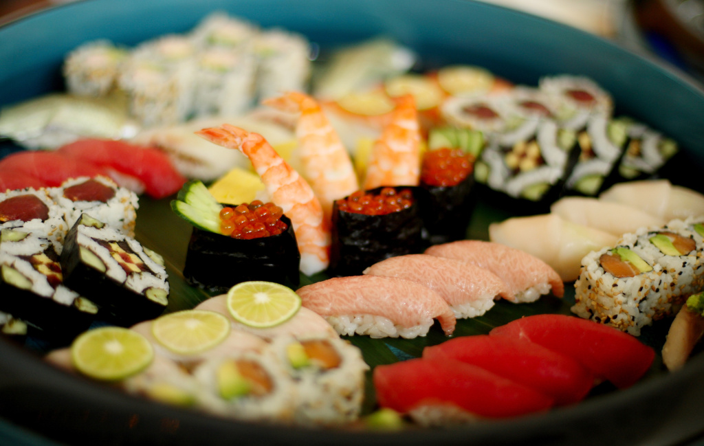 Sushi is seen on a platter during a food tasting in New York City in August 2012.
