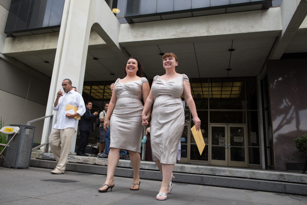 Jessica Maxwell and Shana Krochmal walk out of the Beverly Hills Courthouse on July 1st, 2013. They have been together for 5 years.