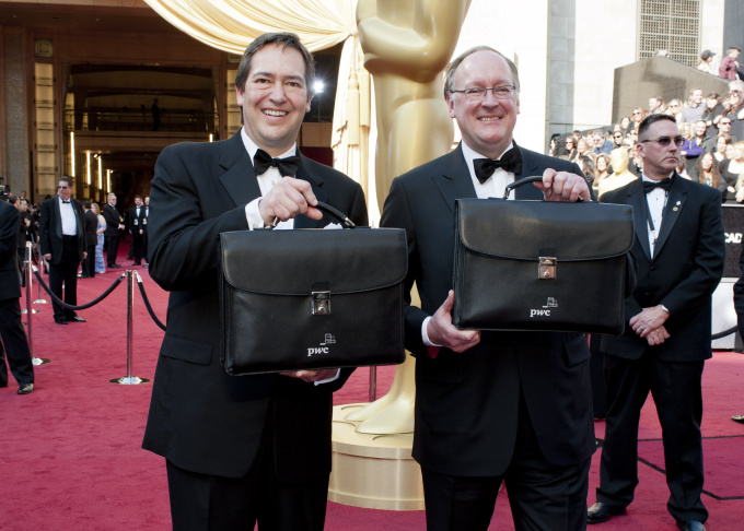 Brian Cullinan and Rick Rosas from PricewaterhouseCoopers visit the Take Two studio with the Oscar briefcase and envelope.