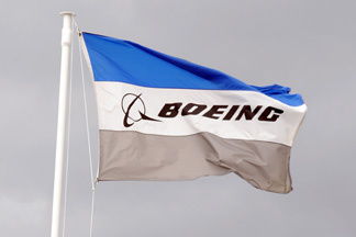 A flag of US aerospace giant Boeing.