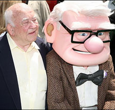 Ed Asner and character Carl Fredricksen arrive for the premiere of Disney Pixar's 'Up' at the El Capitan Theatre in Hollywood on May 16, 2009.