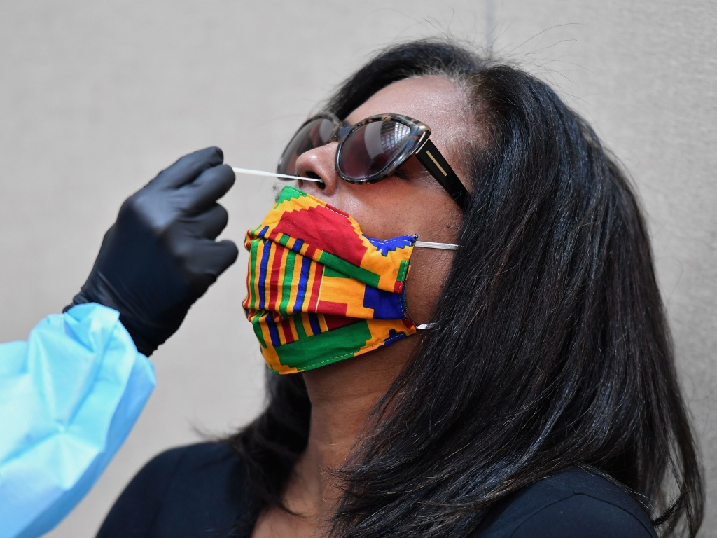 A woman is tested for COVID-19 at Harlem's Abyssinian Baptist Church in New York City earlier this month.