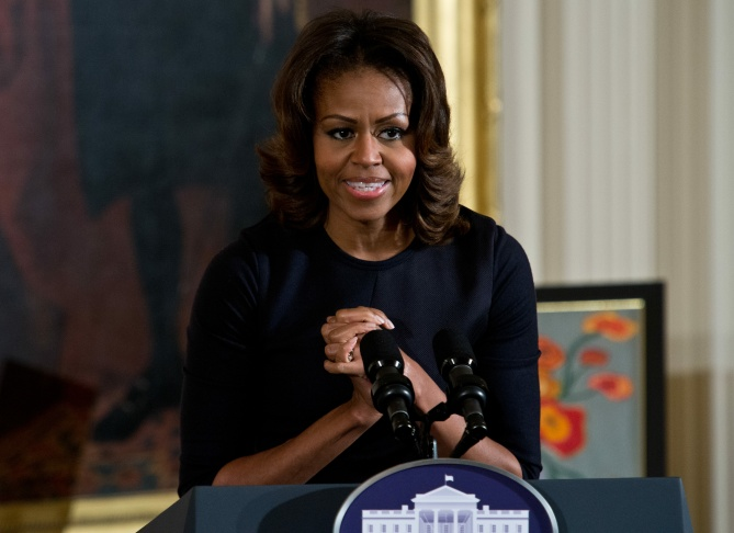 First Lady Michelle Obama speaks at the Presidents Committee on the Arts and the Humanities (PCAH) National Arts and Humanities Youth Program Awards at the White House in Washington on Nov. 22, 2013.