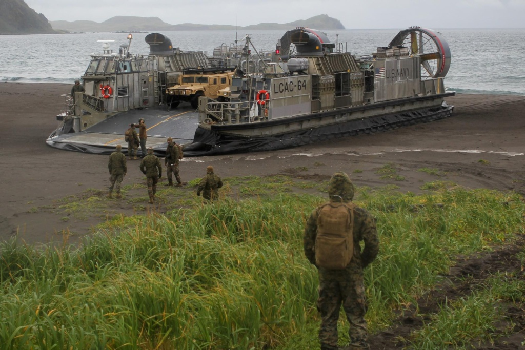 An LCAC, a hover-craft the Navy uses to transport material from ship to shore, lands on the beach at Kuluk Bay on Adak as part of military exercises in September.