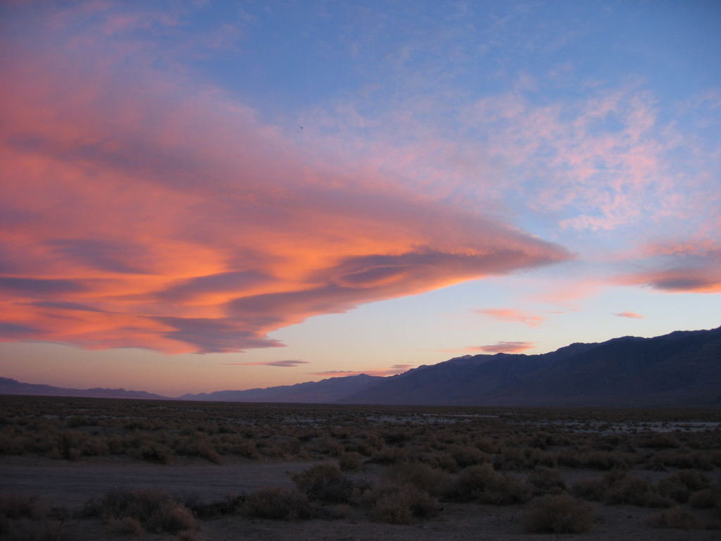 Sunset in the Owens Valley.