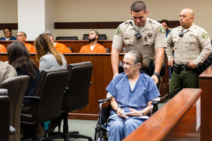 Linda Maureen Raye at her sentencing hearing at the Riverside County Hall of Justice. Raye pleaded guilty to elder abuse that led to the death of her mother.