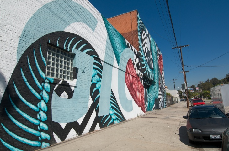 The mural decorating the outside of Bedrock L.A. in Echo Park, a rehearsal space and recording studio for local musicians.