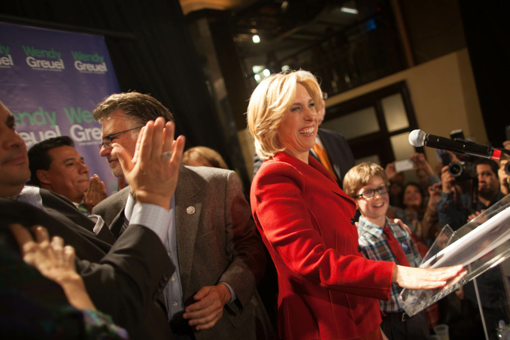 Controller Wendy Greuel, seen here on election night for the primary, gave an aggressive speech Tuesday intended to quiet critics who say she may be overly influenced by support from labor.