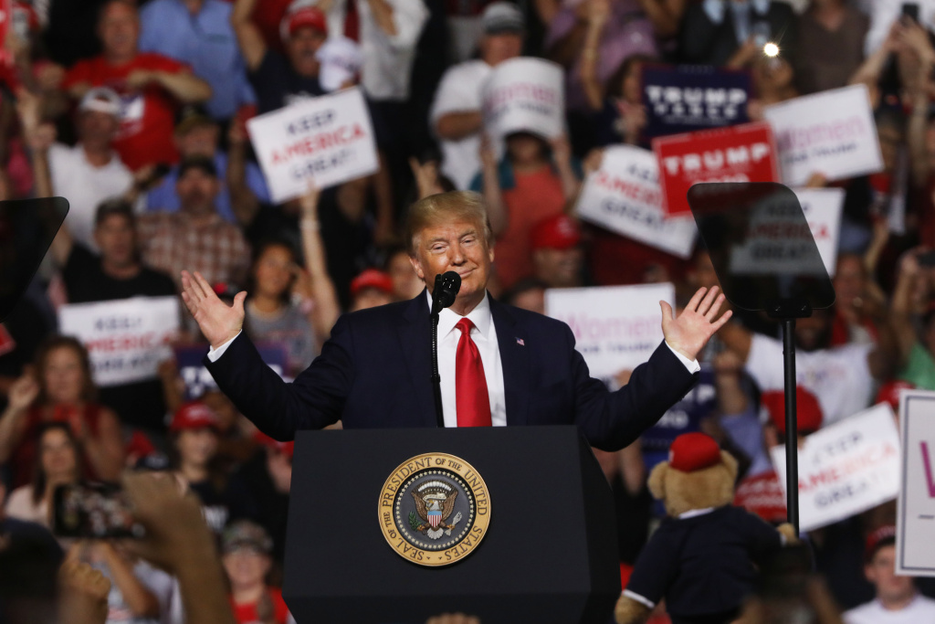 President Donald Trump speaks to supporters at a rally in Manchester on August 15, 2019 in Manchester, New Hampshire.