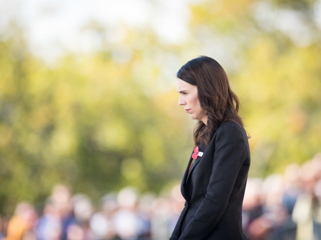 New Zealand Prime Minister Jacinda Ardern is calling on governments and tech companies to do more to prevent live streaming of terror attacks and the spread of such videos online. Ardern is seen here laying a wreath at the Auckland War Memorial Museum in Auckland last month.