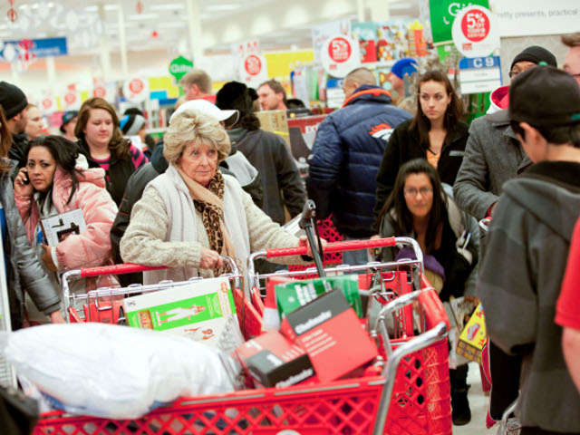 Black Friday shoppers chase deals at Walmart.