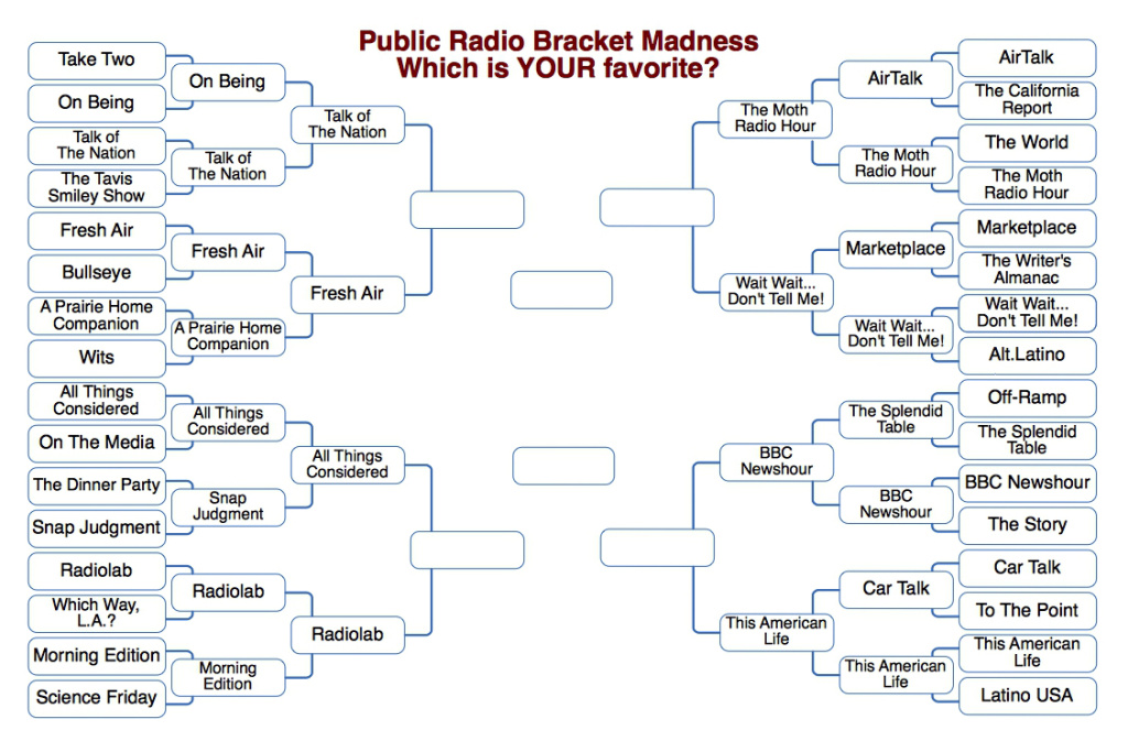It's round 3 of Public Radio Bracket Madness! Remember — there can be only one!