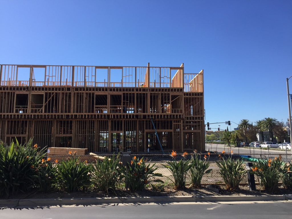 Construction is ongoing in an area with lots of shopping just off the 405 Freeway along Edinger Avenue in Huntington Beach. Nearby at Edinger Avenue and Beach Boulevard, a site was proposed for new affordable housing units.