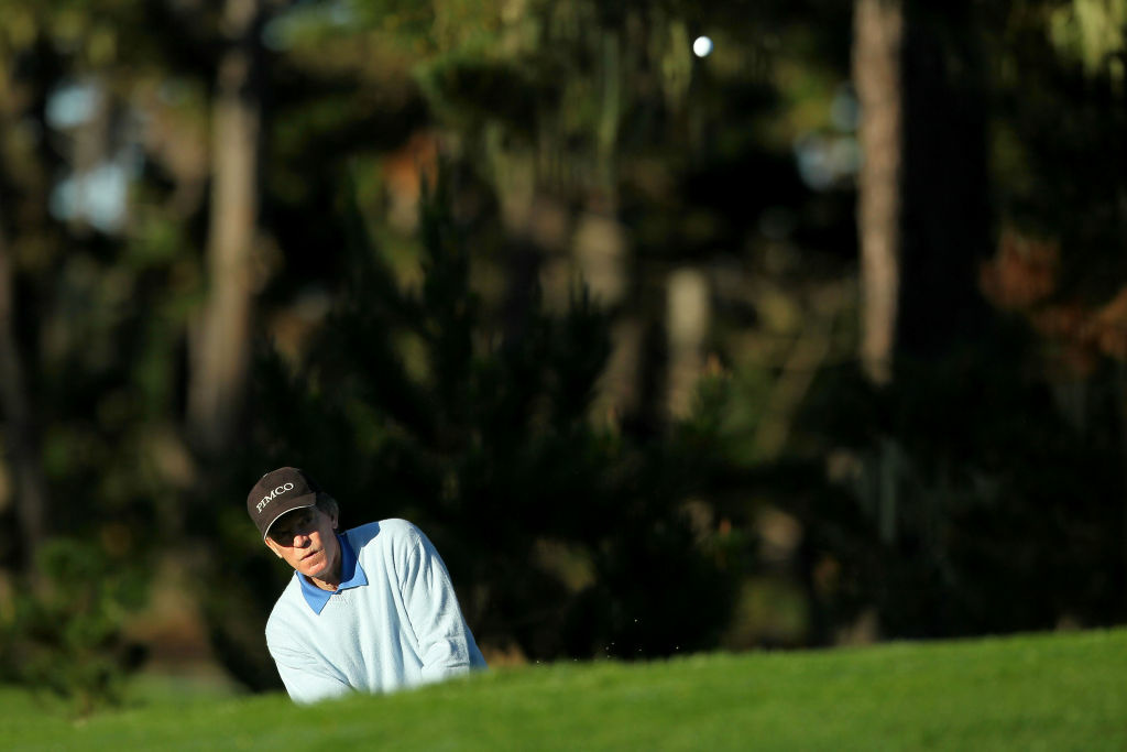 Bill Gross, CIO of PIMCO, hits a shot during the AT&T Pebble Beach National Pro-Am at the Spyglass Hill Golf in 2012. Let's just hope co-CIO Mohamed El-Erian wasn't watching.