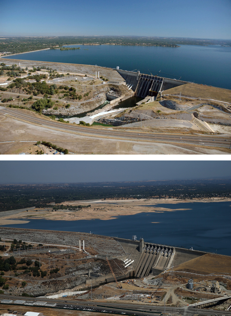 FOLSOM, CA - JULY 20:  In this before-and-after composite image, (Top) Full water levels are visible behind the Folsom Dam at Folsom Lake on July 20, 2011 in El Folsom, California. (Photo by Paul Hames/California Department of Water Resources via Getty Images) FOLSOM, CA - AUGUST 19:  (Bottom) Low water levels are visible behind the Folsom Dam at Folsom Lake on August 19, 2014 in El Folsom, California. As the severe drought in California continues for a third straight year, water levels in the State's lakes and reservoirs is reaching historic lows. Folsom Lake is currently at 40 percent of its total capacity of 977,000 acre feet.  (Photo by Justin Sullivan/Getty Images)