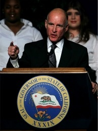 California Gov. Jerry Brown delivers remarks after he was sworn in as the 39th governor of California on January 3, 2011 in Sacramento, California. Justin Sullivan/Getty Images