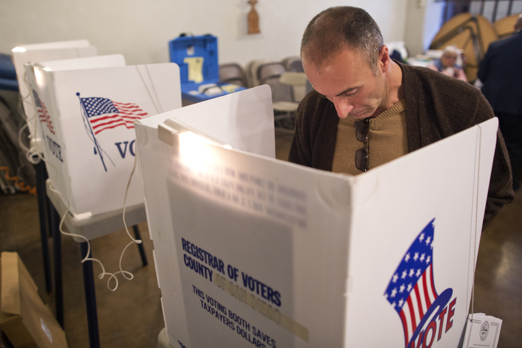Steven Whiddon votes during the Los Angeles County primary election on Tuesday, March 3, 2015 at Saint Mary of the Angels in Los Feliz.