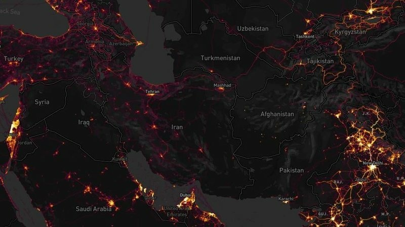 Zooming in on countries with few native Strava users is one way to track likely NATO forces, experts say. Known bases in Afghanistan and Syria appeared with bright lines amid dark backgrounds in the exercise tracking firm's map.