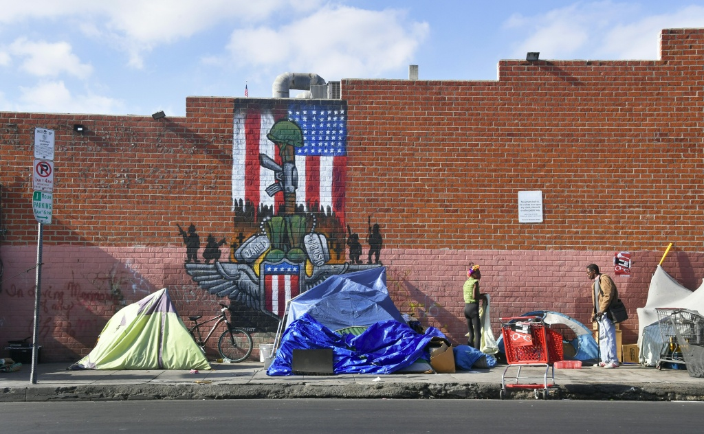 Makeshift tents house the homeless on a street in Los Angeles, California.