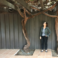 Author and historian Frances Dinkelspiel with two 150-year old mission grape vines at Avila Adobe on Olvera Street in downtown Los Angeles.