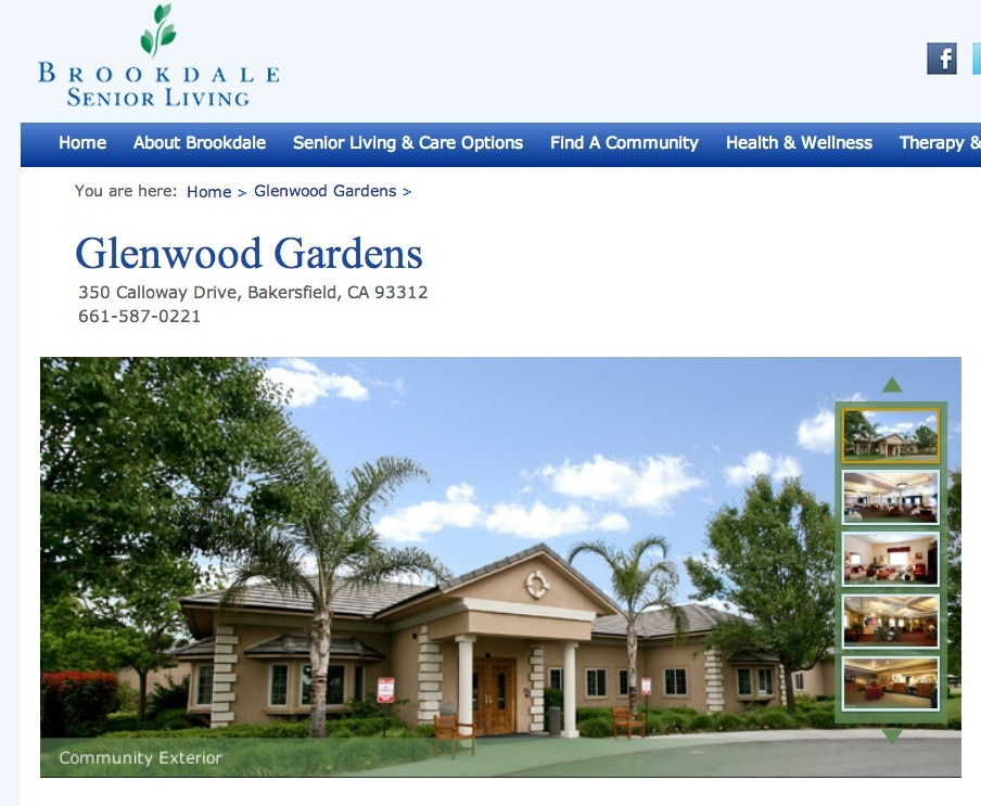A screenshot of the website for Glenwood Gardens in Bakersfield.