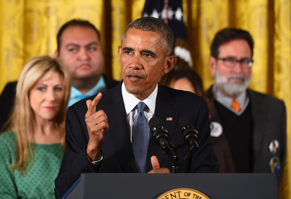 President Obama delivering a statement on executive actions to reduce gun violence