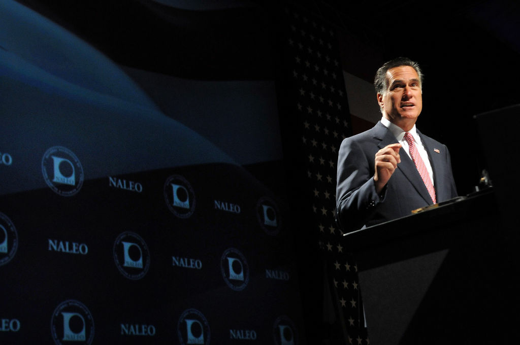 Republican Presidential candidate, former Massachusetts Governor Mitt Romney speaks at the National Association of Latino Elected and Appointed Officials (NALEO) 29th Annual Conference in Lake Buena Vista, Florida.