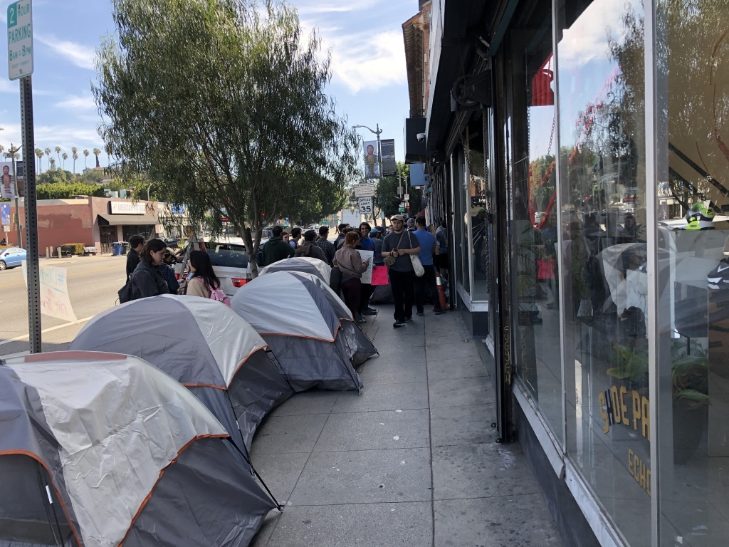 Homeless advocates erected a line of tents outside the Echo Park office of City Councilman Mitchell O'Farrell Feb. 12, 2020 to pressure him into meeting with them.