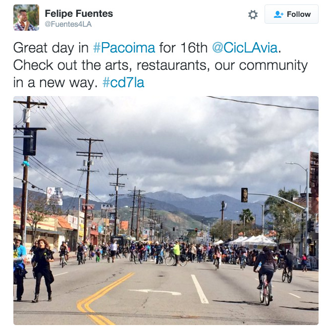 A tweet by Los Angeles City Councilman Felipe Fuentes.