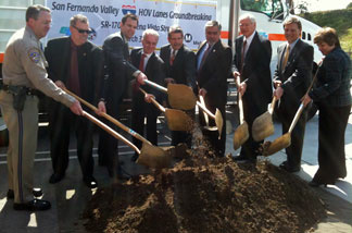 Bill Dance, Mike Miles, Cameron Smyth, Paul Krekorian, Zev Yaroslavsky, Jess Talamantes, Michael Antonovich, Ara Najarian, Cindy McKim next to I-5 at Buena Vista where construction on the project will begin.
