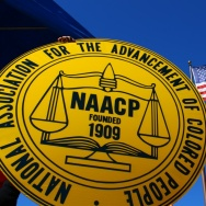 NAACP logo and American flag
