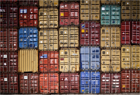 Cargo containers stacked at the Los Angeles-Long Beach port complex