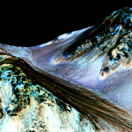 This image from NASA's Mars Reconnaissance Orbiter shows dark, narrow streaks on the slopes of Hale Crater that were thought to be created by water, but are now under question.