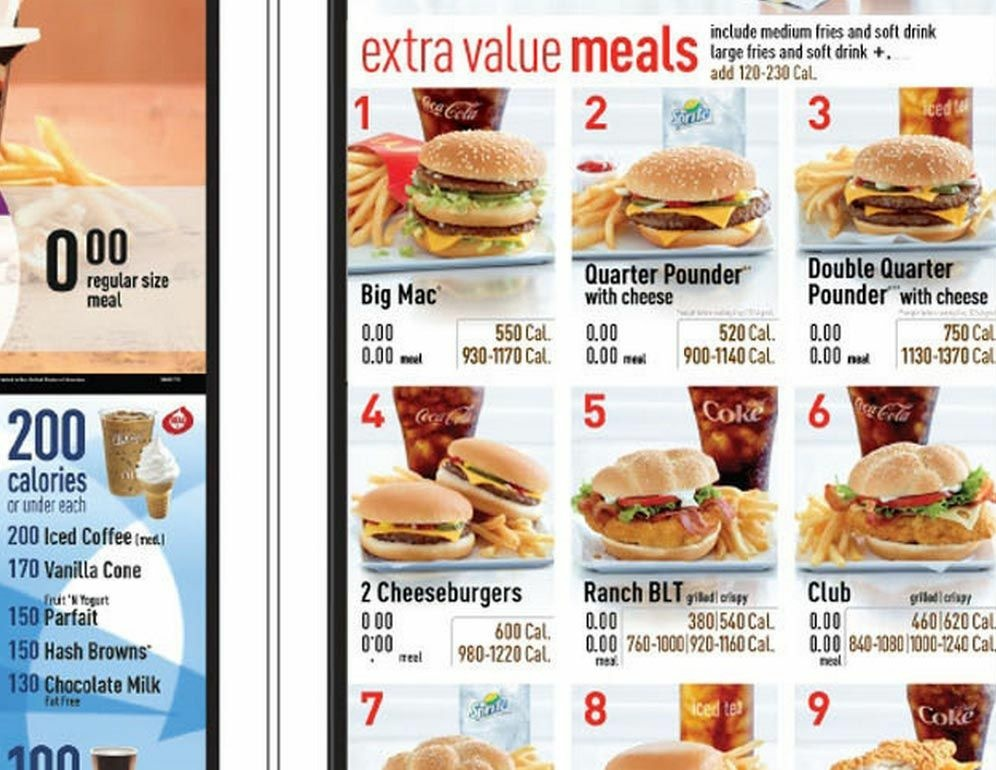 Will Calorie Counts On Drive Thru Menus At Mcdonald S Make