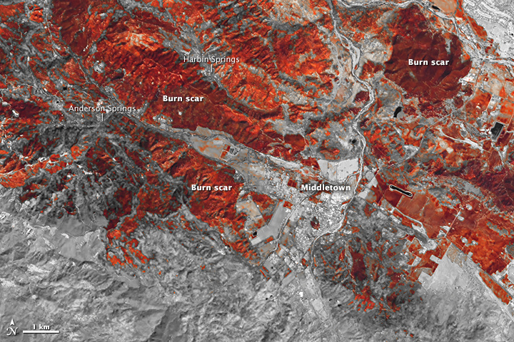 Computer-enhanced image of the areas burned in the Valley Fire, taken Sunday, Sept. 20, 2015.