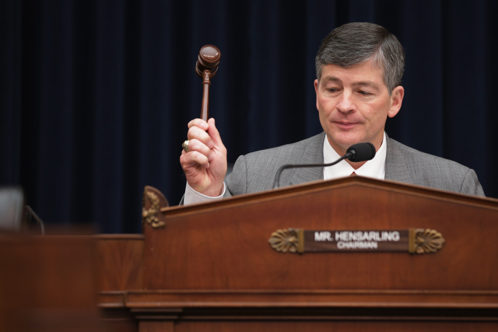 House Financial Services Committee Chairman Jeb Hensarling (R-TX) lowers the gavel on a hearing where Federal Reserve Chair Janet Yellen House testified in the Rayburn House Office Building.