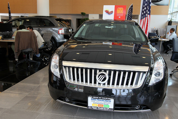 A brand new Mercury Milan is displayed in the showroom at San Francisco Ford Lincoln Mercury June 2, 2010 in San Francisco, California. Ford Motor Co. announced plans to shut its struggling Mercury brand after Ford's board of directors voted to discontinue the 71-year old brand.