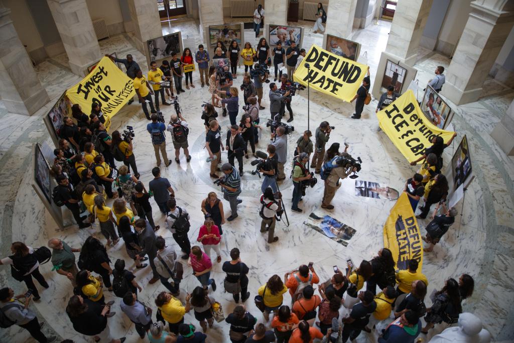 Protestors Rally Against Customs And Border Patrol Funding In U.S. Senate