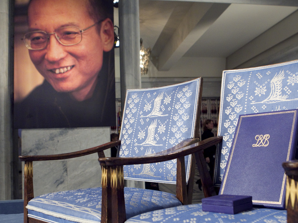 A chair sat empty for Nobel Peace Prize winner Liu Xiaobo in Oslo in 2010. The rights activist was imprisoned in China in 2009.