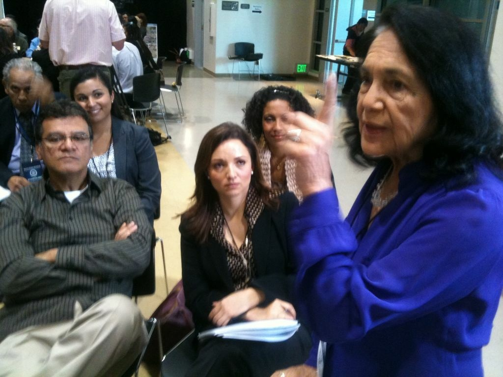 United Farm Workers icon Dolores Huerta among 500 people who attended White House Hispanic Community Action Summit in Los Angeles.