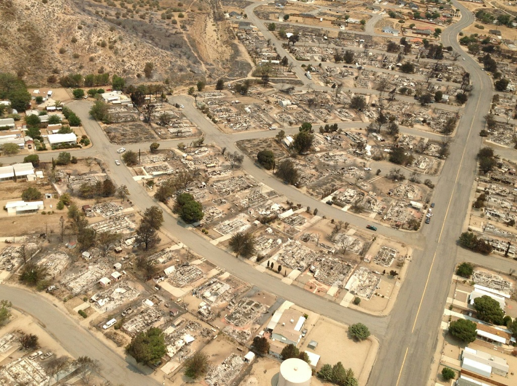 An aerial image shows the aftermath of the Erskine Fire in Kern County.