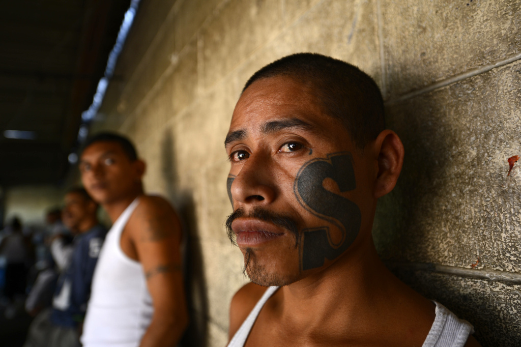 Members of Mara Salvatrucha (MS13), held on Monday, March 4, 2013, in the Criminal Center of Ciudad Barrios, San Miguel, 160 km east of San Salvador, after one year of cessation of the violence between the rivalry of two large gangs in El Salvador, MS13 and 18 st. El Salvador, a small country of six million people, is brimming with an estimated 50,000 street gang members, plus another 10,000 who are behind bars. Since the first truce took effect about a year ago, the average daily death toll from gang-related violence has gone down from 14 to five.