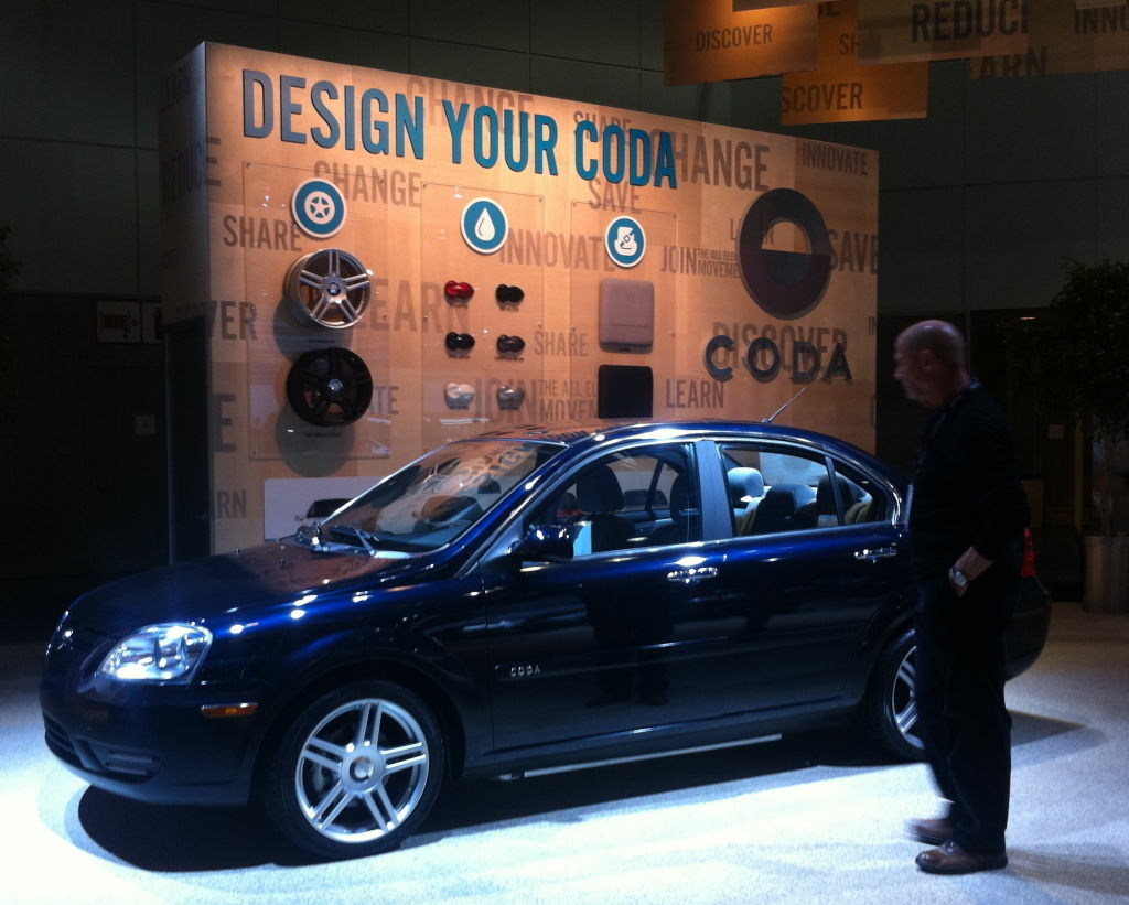 CODA Automotive, now based in West L.A., will be at the Auto Show with a much-larger, similarly-slick display that resembles what the company's installed in the Century City mall to reach out to the public.