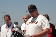 John Stow, the cousin of San Francisco Giants fan Bryan Stow, addresses the media on Tuesday, April 5, 2011, asking the public for any information leading to the Los Angeles Dodgers fans who attacked his cousin after a game last week.