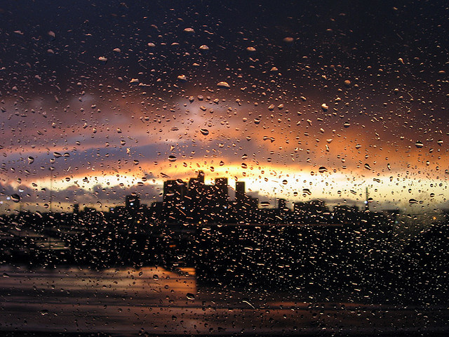 Once in awhile, downtown L.A. sees rain.