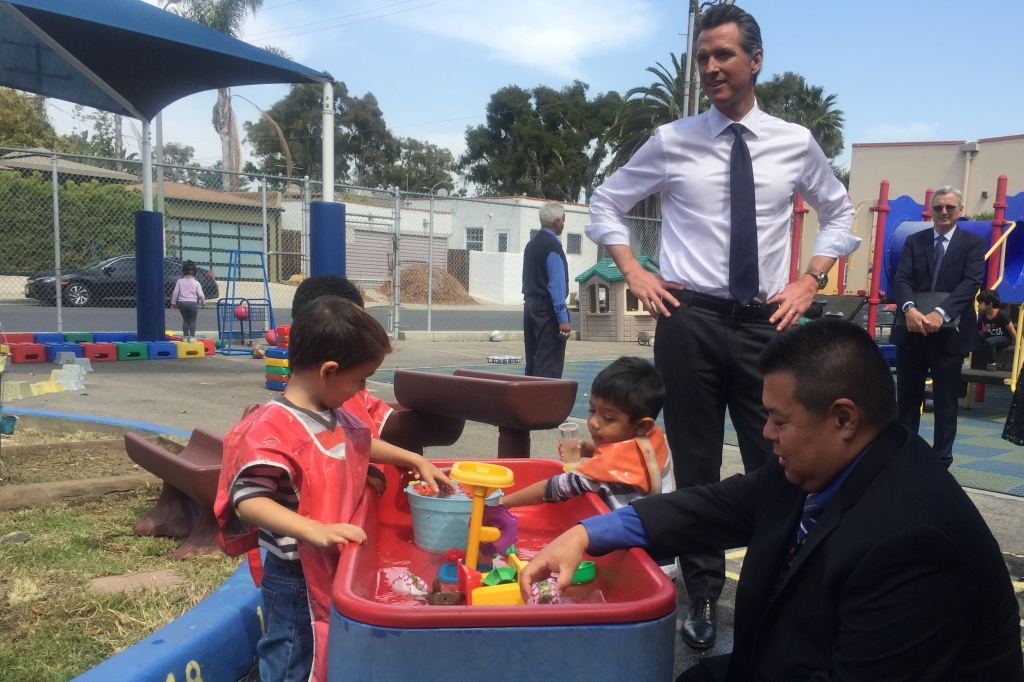On a campaign trip to Los Angeles, Gavin Newsom visited Shenandoah Early Education Center in the L.A. Unified School District to talk with kids and district leaders.